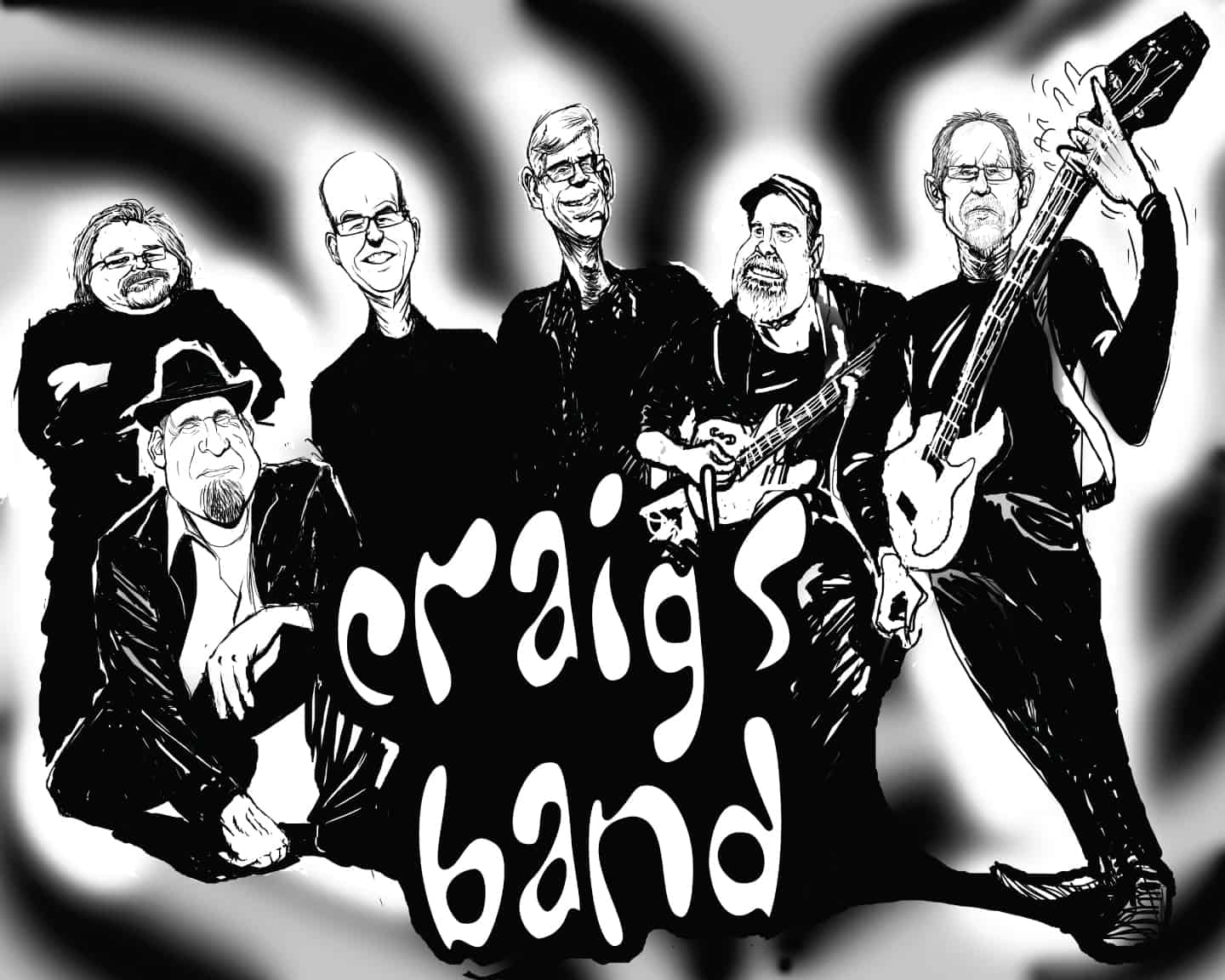 Custom Digital Caricature By San Diego Caricaturist Cameron Canales Used for Band T-Shirts