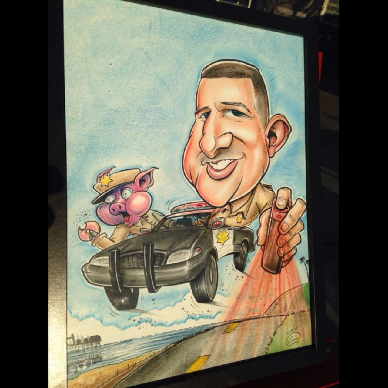 Custom Caricature Hand Drawn by San Diego Caricaturist Cameron Canles Given as a Retirement Gift.