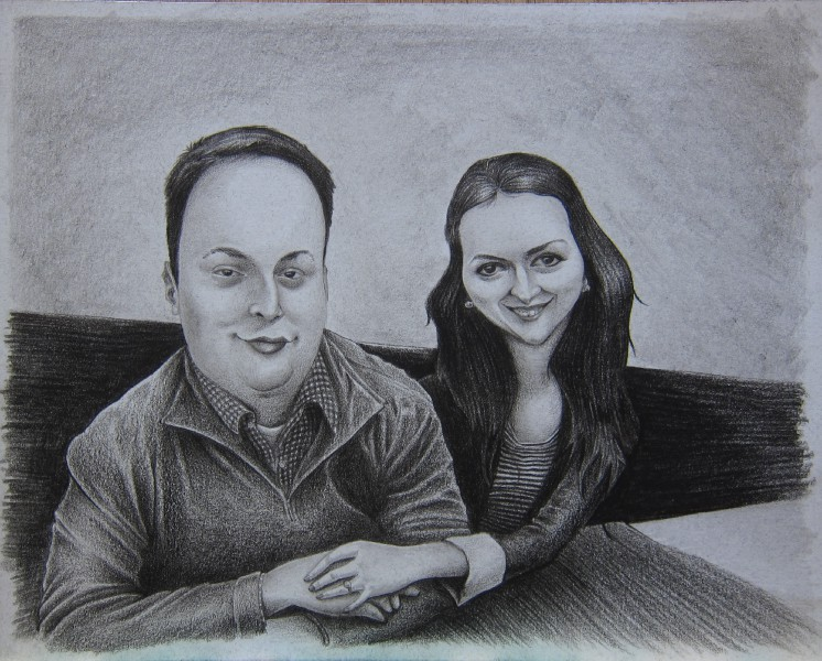 Custom Hand Drawn Caricature in Graphite by San Diego Caricaturist Cameron Canales Given as an Engagement Gift.