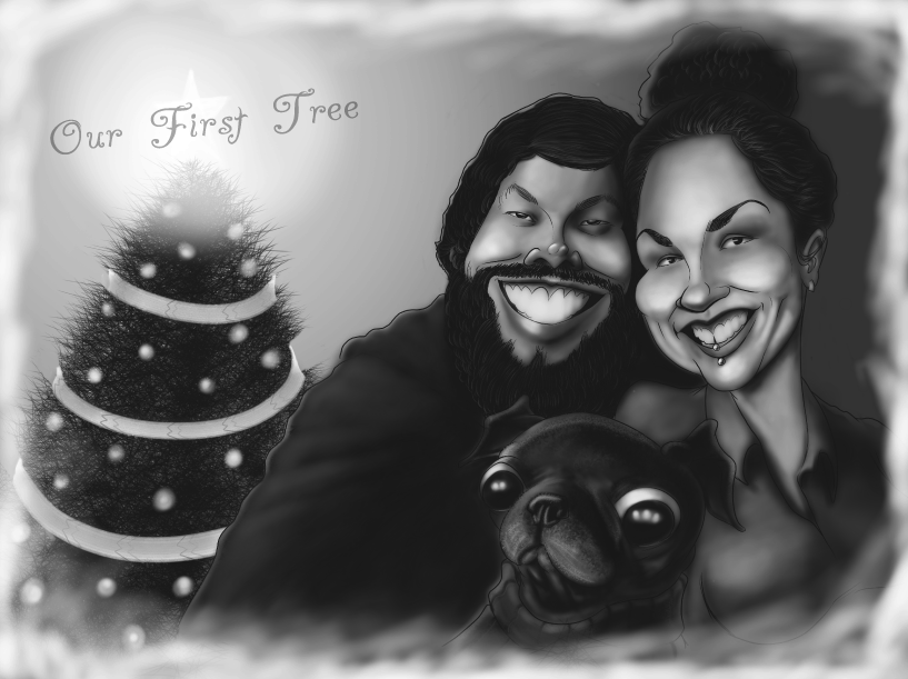 Custom Digital Caricature by San Diego Caricaturist used for Holiday Greeting Cards.