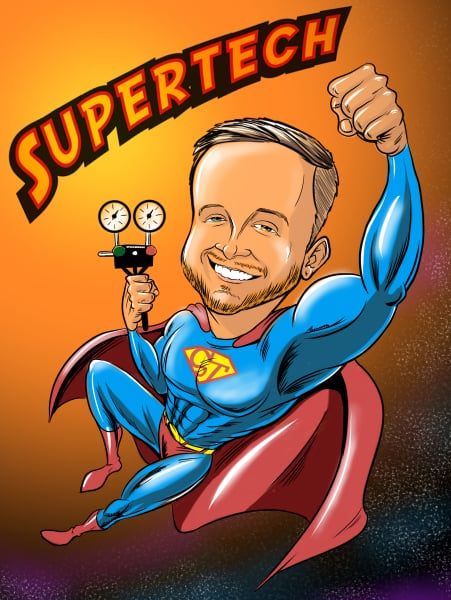 Custom Digital Caricature by San Diego Caricaturist Cameron Canales given as an Employee of the Month Gift.