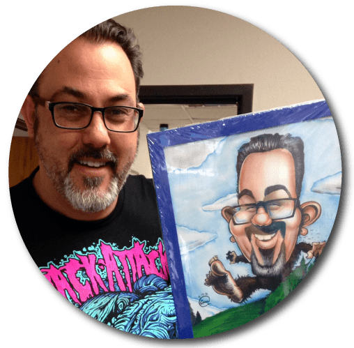 Custom Hand Drawn Color Caricature drawn By San Diego Caricaturist Cameron Canales.
