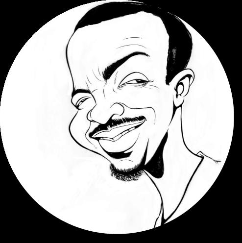 Black and White Caricature Headshot